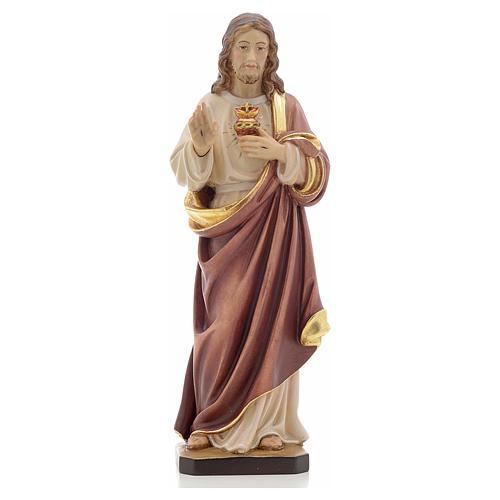 Estatua madera Sagrado Corazón de Jesús pintada Va 1