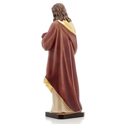 Estatua madera Sagrado Corazón de Jesús pintada Va 3