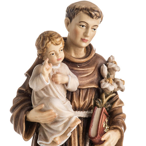 Saint Antony with Child wooden statue painted 2
