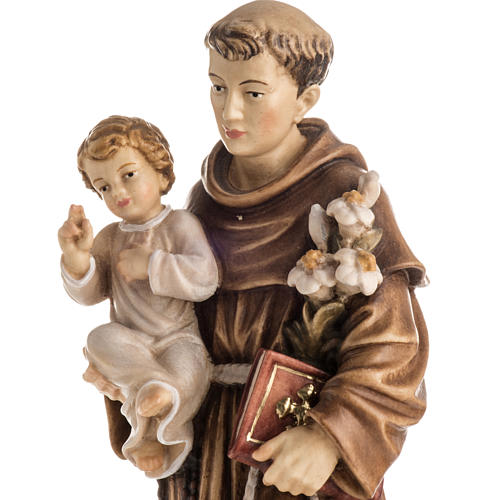 Saint Antony with Child wooden statue painted 3