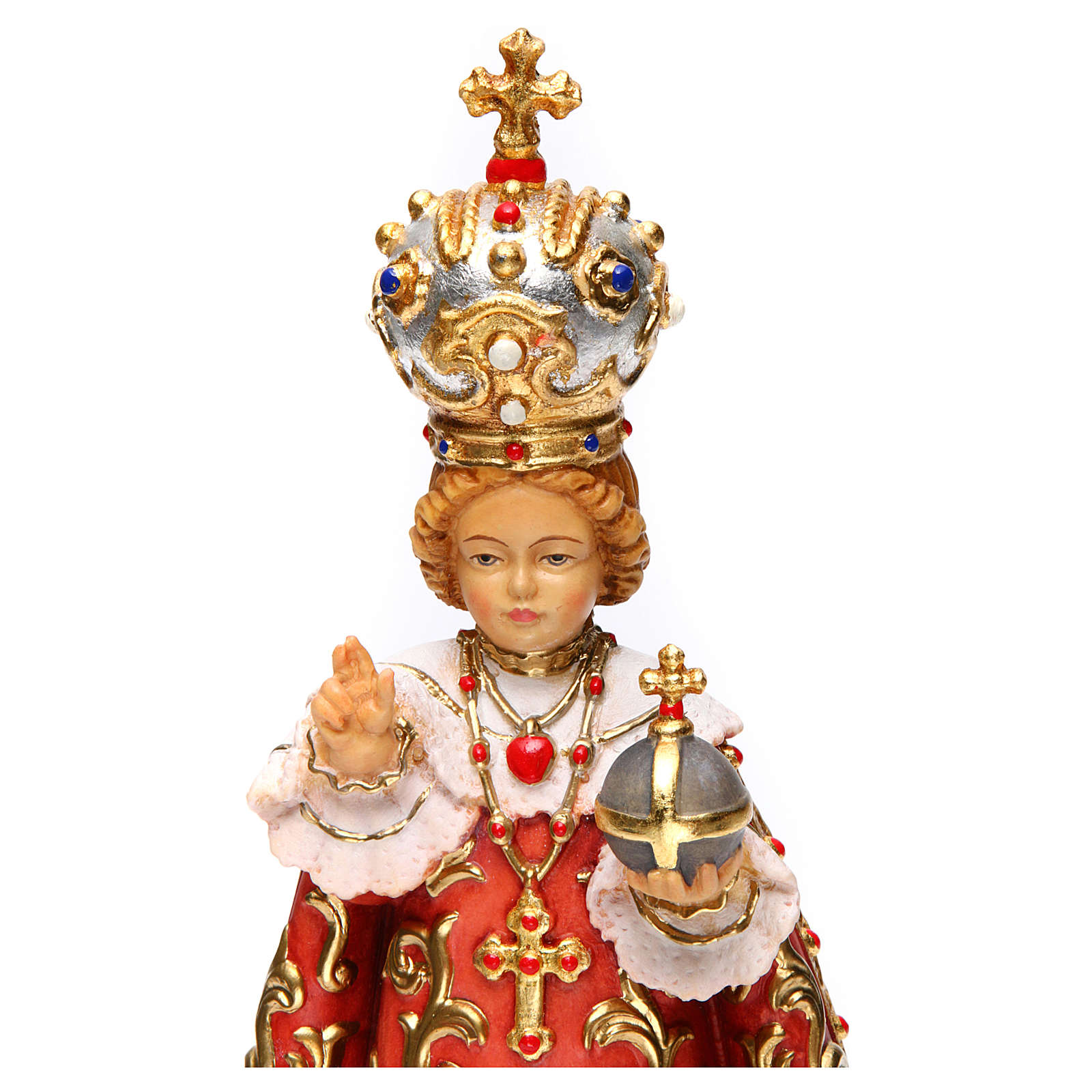 Infant of Prague wooden statue painted 4