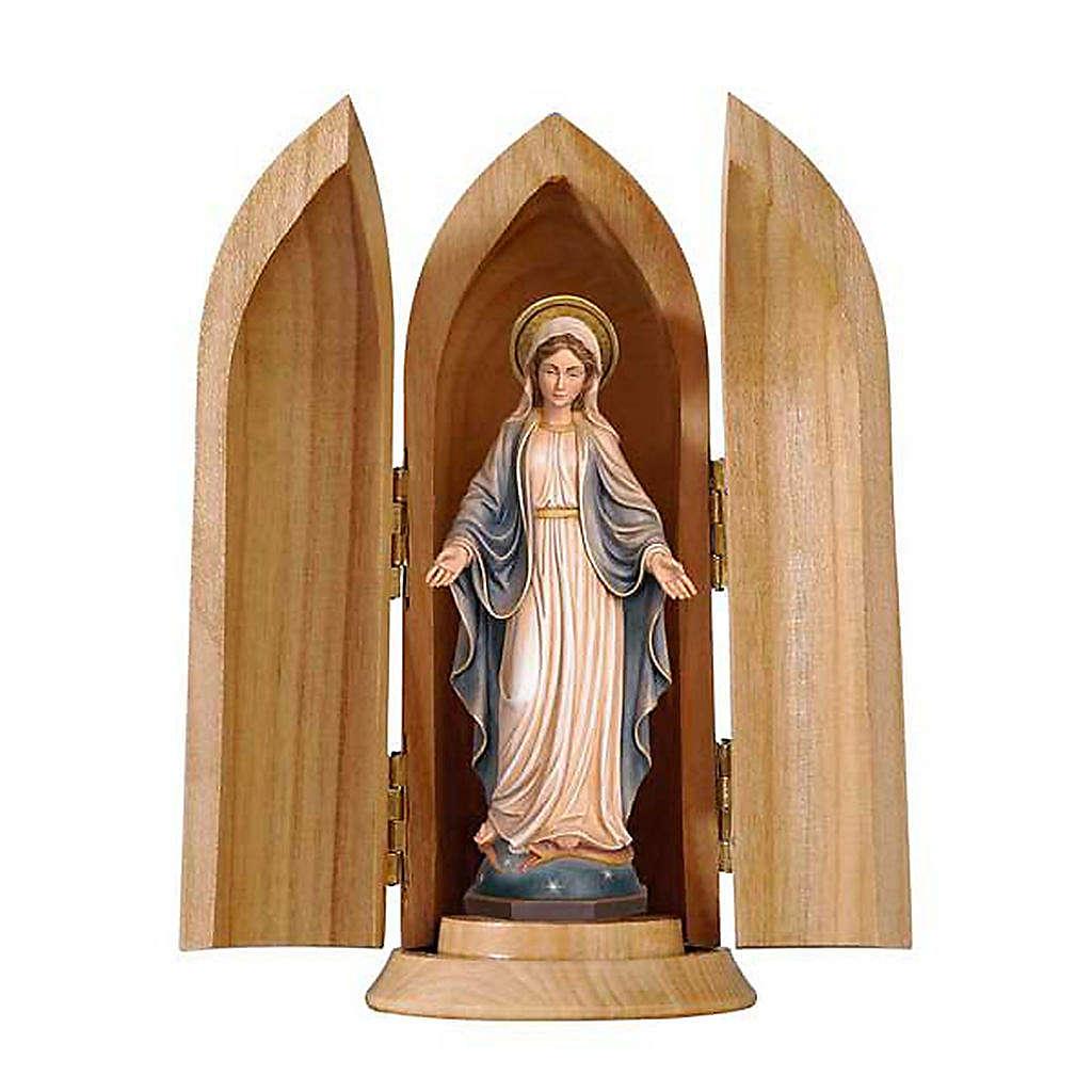 Statue Notre Dame des Grâces dans niche bois peint 4