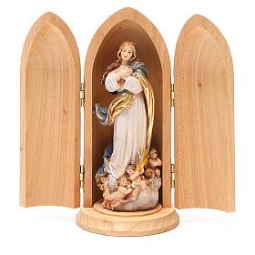 Statua Immacolata Murillo in nicchia legno dipinto s1