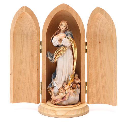 Statua Immacolata Murillo in nicchia legno dipinto 1