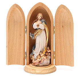 Hand painted wooden statues: Immaculate Conception by Murillo statue in niche