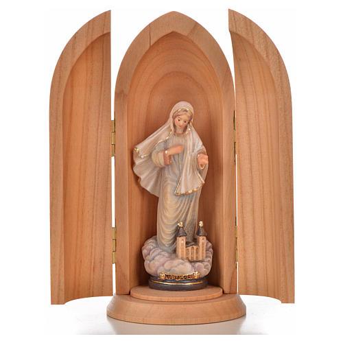 Statue Notre Dame de Medjugorje et église dans niche bois 1