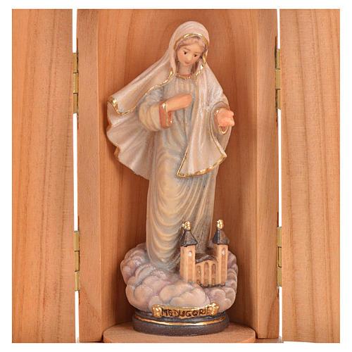Statue Notre Dame de Medjugorje et église dans niche bois 2