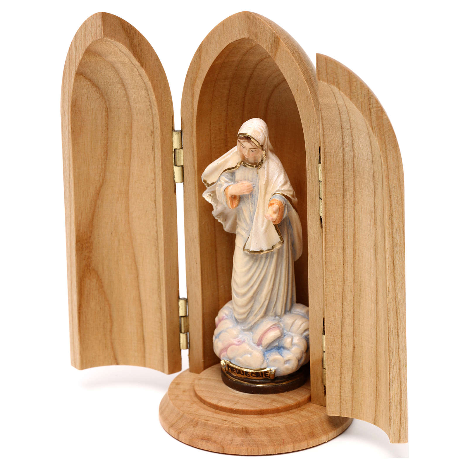 Our Lady Queen of Hope wooden statue painted in niche 4