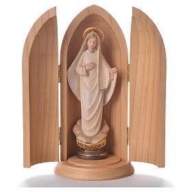 Statue Vierge de Medjugorje stylisée dans niche bois s1