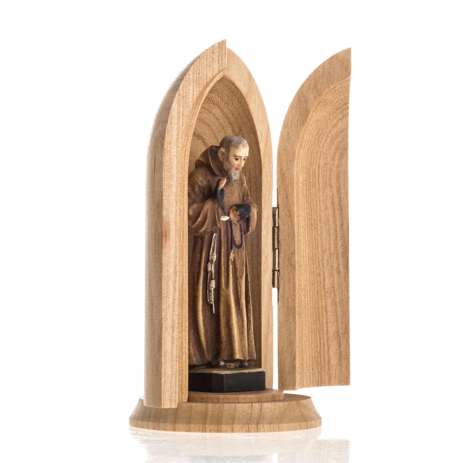 Statua San Padre Pio in nicchia legno dipinto 4