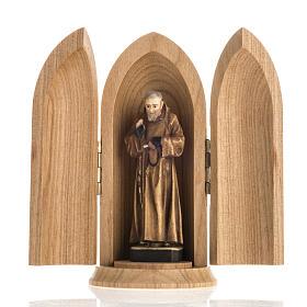 Statua San Padre Pio in nicchia legno dipinto s1