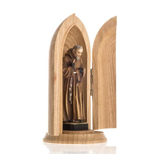 Statua San Padre Pio in nicchia legno dipinto 2