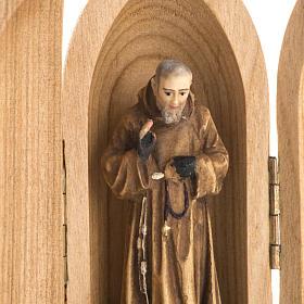 Święty Ojciec Pio figurka w niszy malowane drewno s3