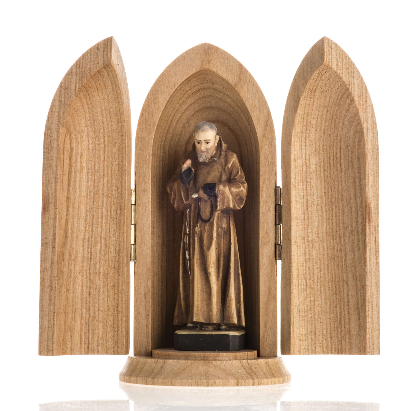 Padre Pio wooden statue painted in niche 4