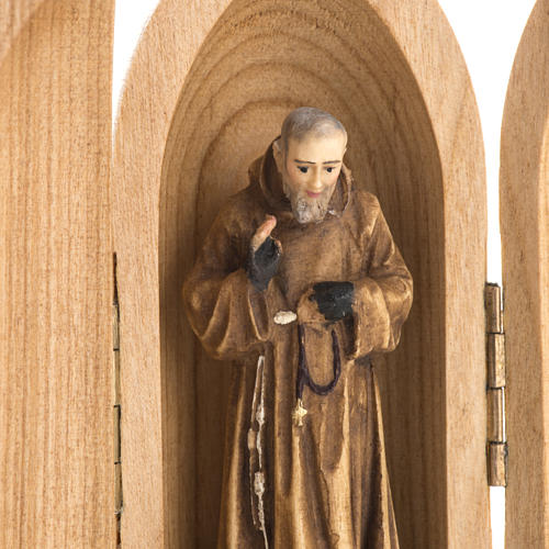 Padre Pio wooden statue painted in niche 3