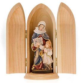 Statues en bois peint: Statue Sainte Anne avec Marie dans niche bois peint