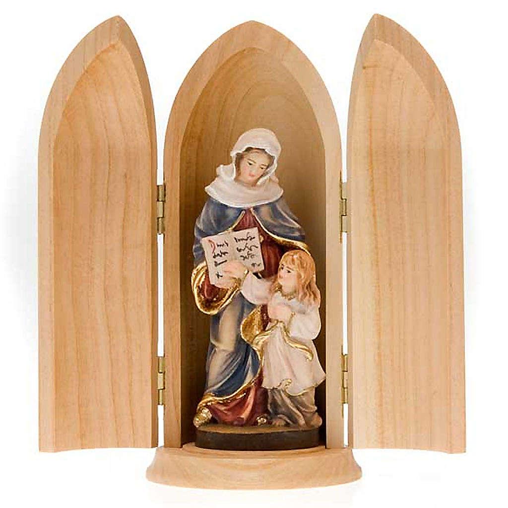 Statua Sant'Anna con Maria in nicchia legno dipinto 4