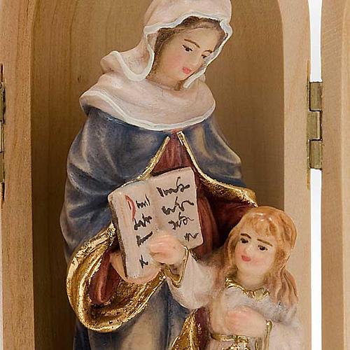 Statua Sant'Anna con Maria in nicchia legno dipinto 2