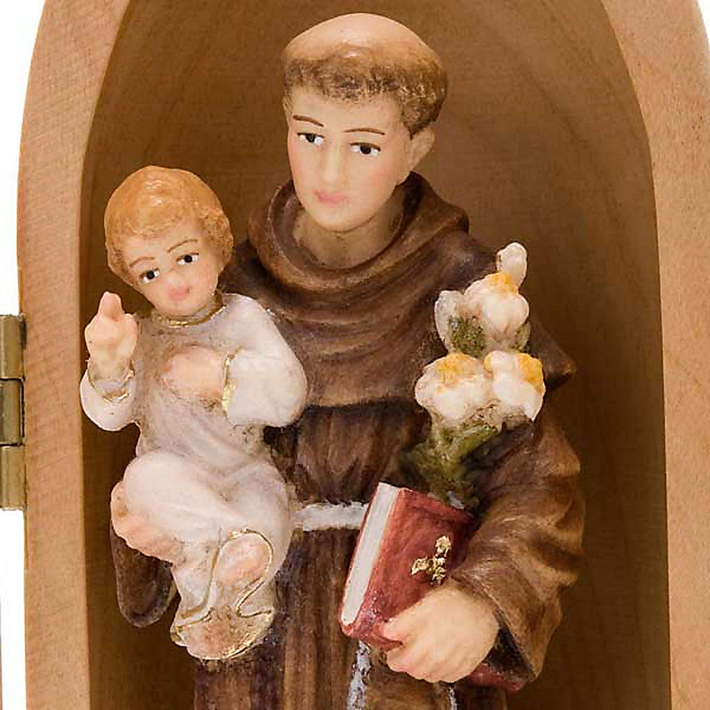Statue Saint Antoine avec enfant dans niche bois peint 4