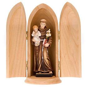 Statue Saint Antoine avec enfant dans niche bois peint s1