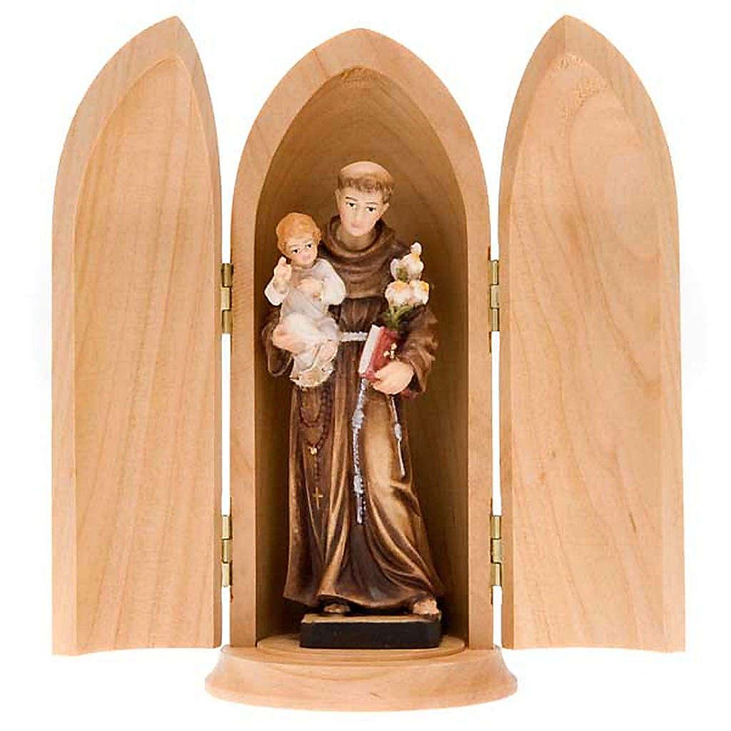 Święty Antoni z Dzieciątkiem figurka w niszy drewno 4