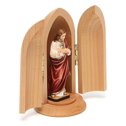 Statue Sacré Coeur de Jésus dans niche bois 3
