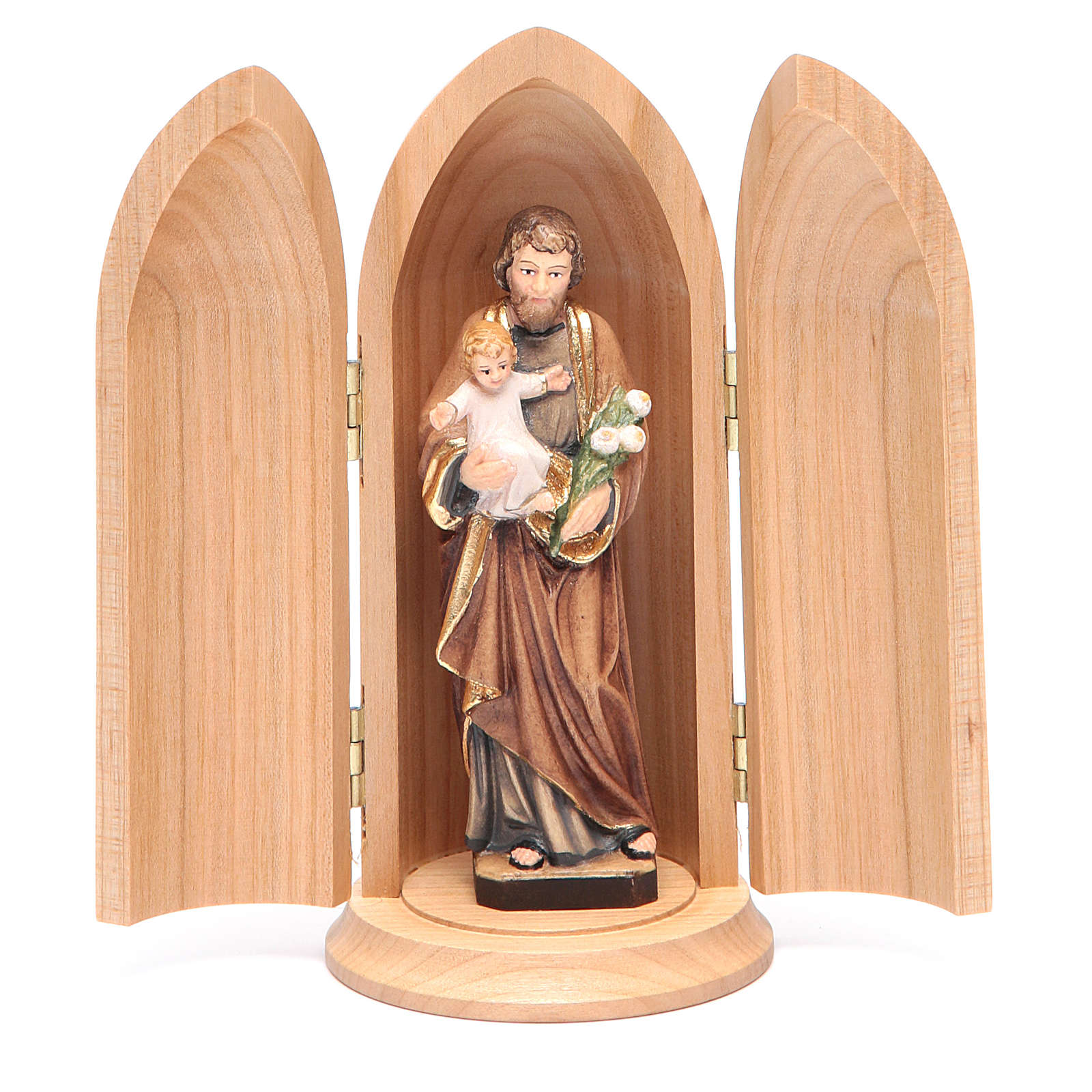 Saint Joseph with Child in Nische wooden statue painted 4