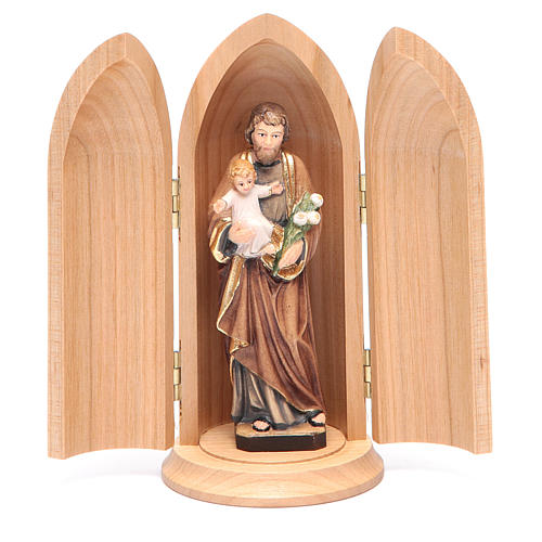 Saint Joseph with Child in Nische wooden statue painted 1