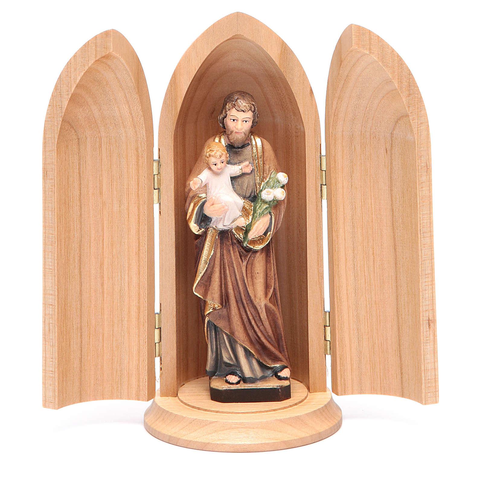 Estatua San José con niño y nicho madera pintada 4