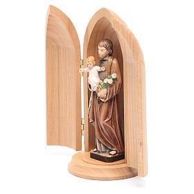 Estatua San José con niño y nicho madera pintada s2