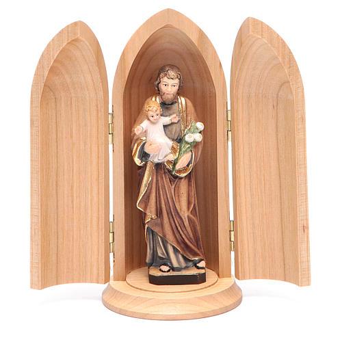 Estatua San José con niño y nicho madera pintada