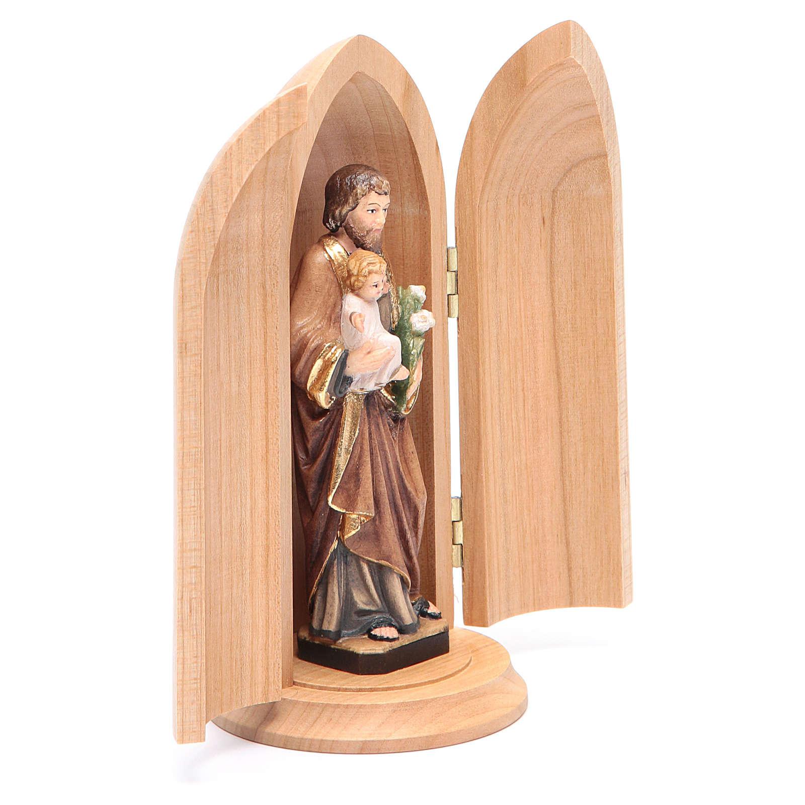 Statua San Giuseppe con bambino in nicchia legno dipinto 4