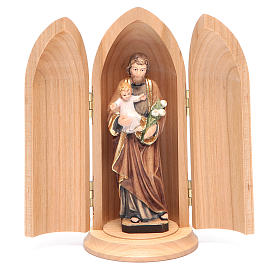Hand painted wooden statues: Saint Joseph with Child in Nische wooden statue painted