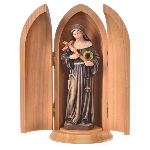 Święta Rita figurka w niszy malowane drewno 1