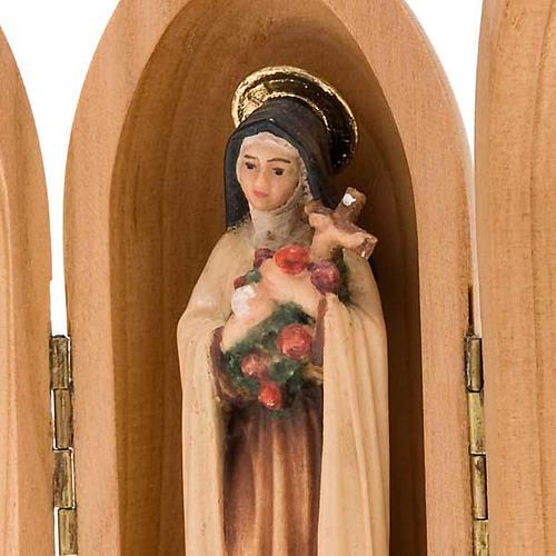 Statua Santa Teresa di Lisieux in nicchia legno dipinto 2