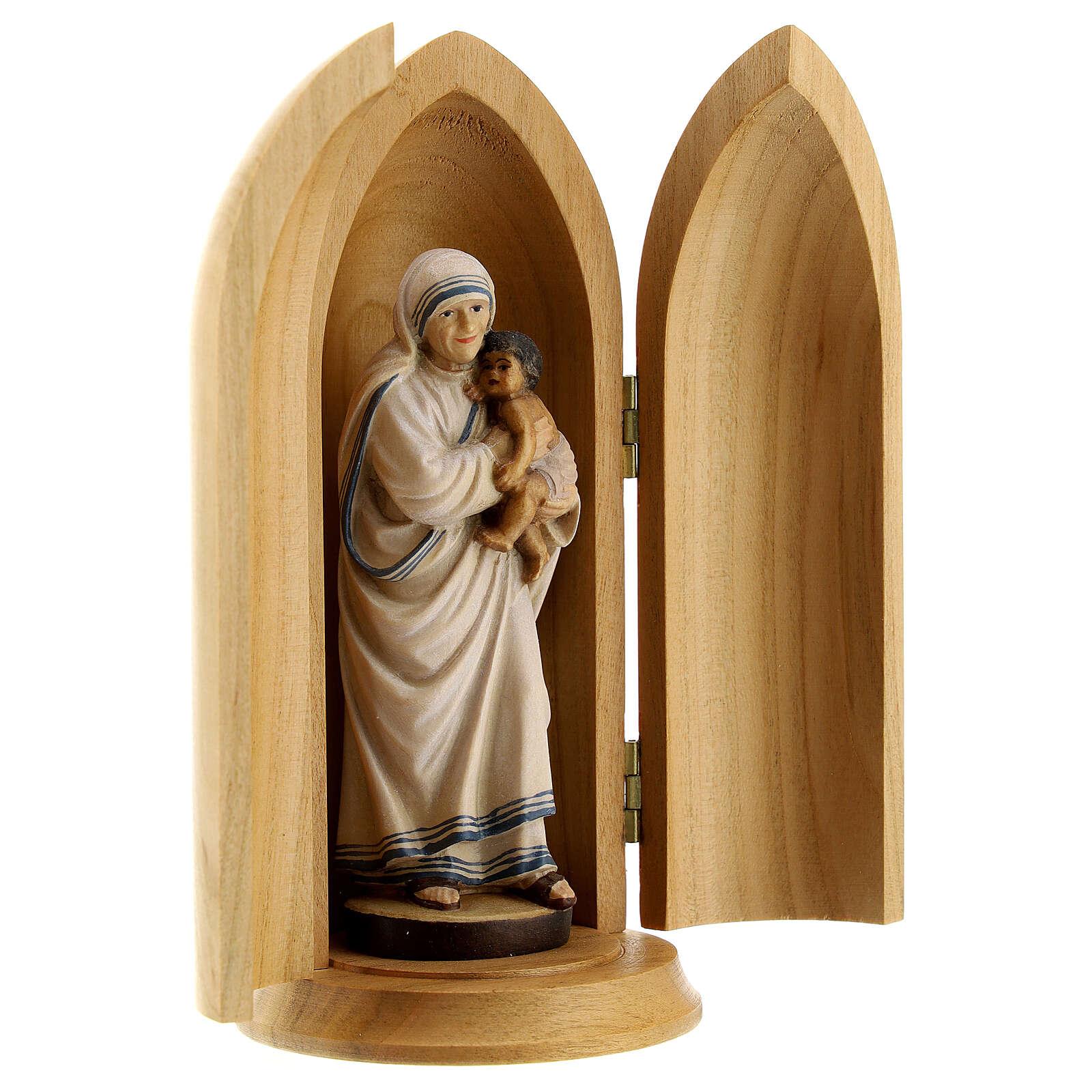 Statua Madre Teresa di Calcutta in nicchia legno 4