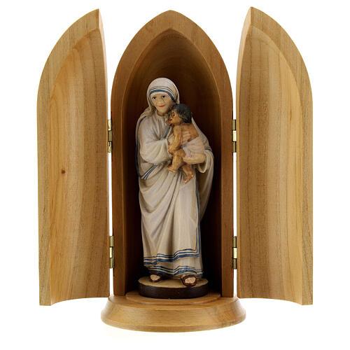 Statua Madre Teresa di Calcutta in nicchia legno 1