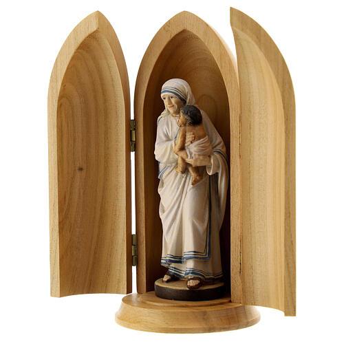 Statua Madre Teresa di Calcutta in nicchia legno 2