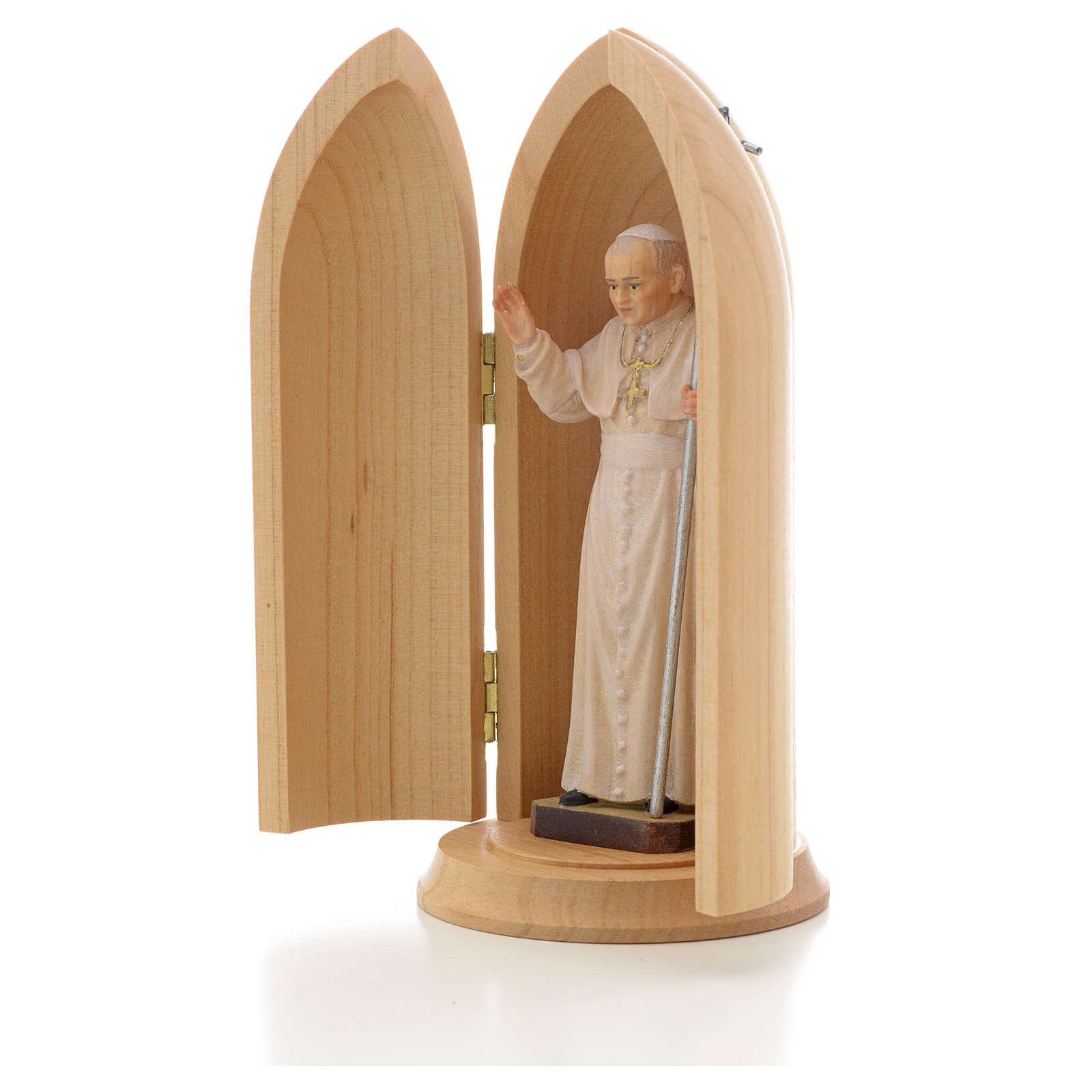 Estatua Papa Juan Pablo II con nicho madera 4