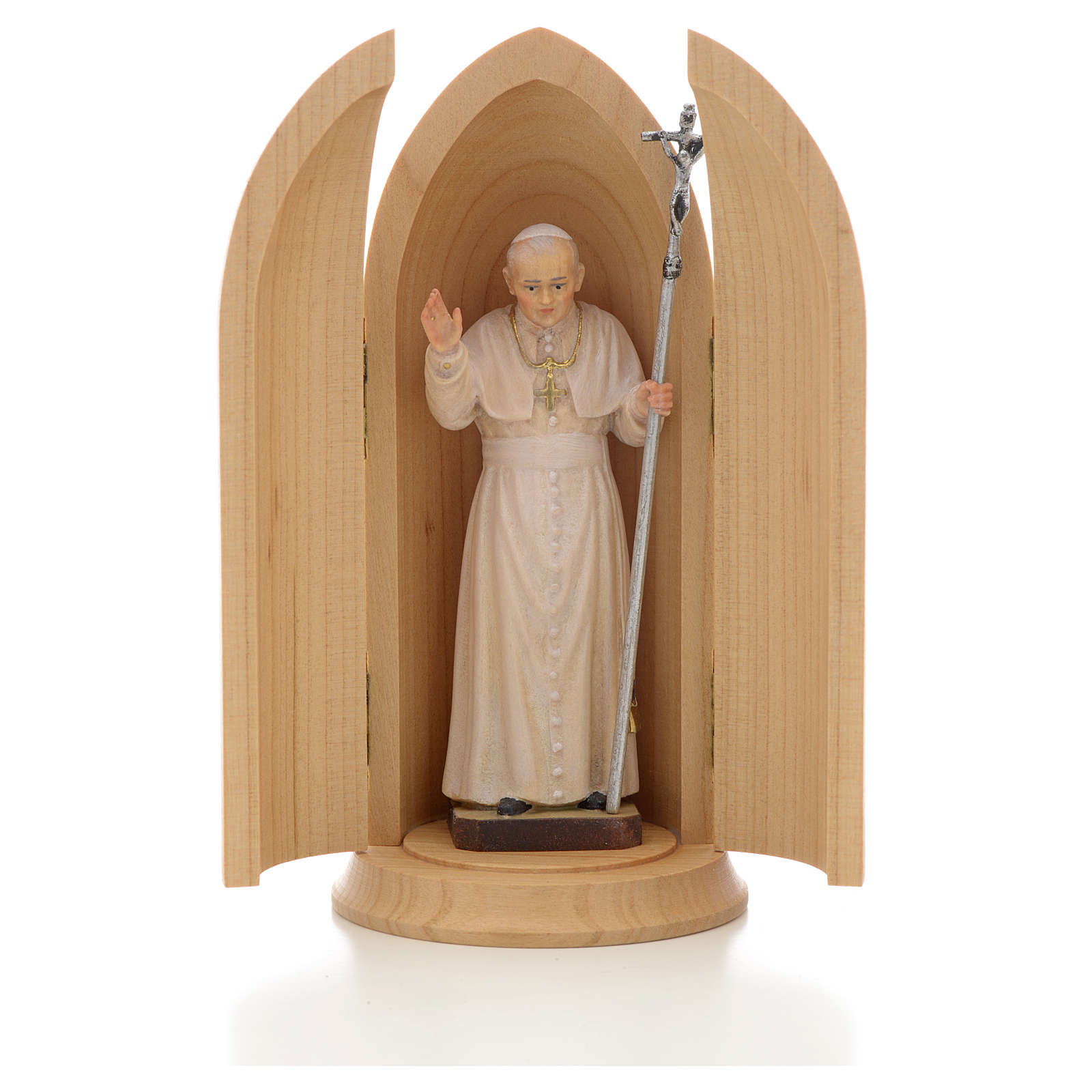 Statua Papa Giovanni Paolo II in nicchia legno 4