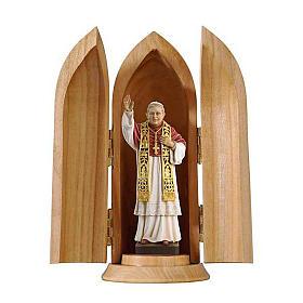 Imágenes de Madera Pintada: Estatua Papa Benedicto XVI con nicho madera