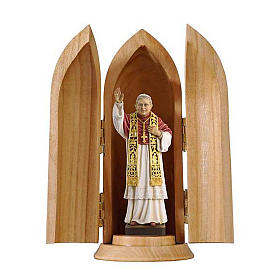 Statua Papa Benedetto XVI in nicchia legno s1
