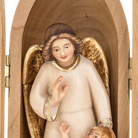 Angel with Child wooden statue painted in nische s3