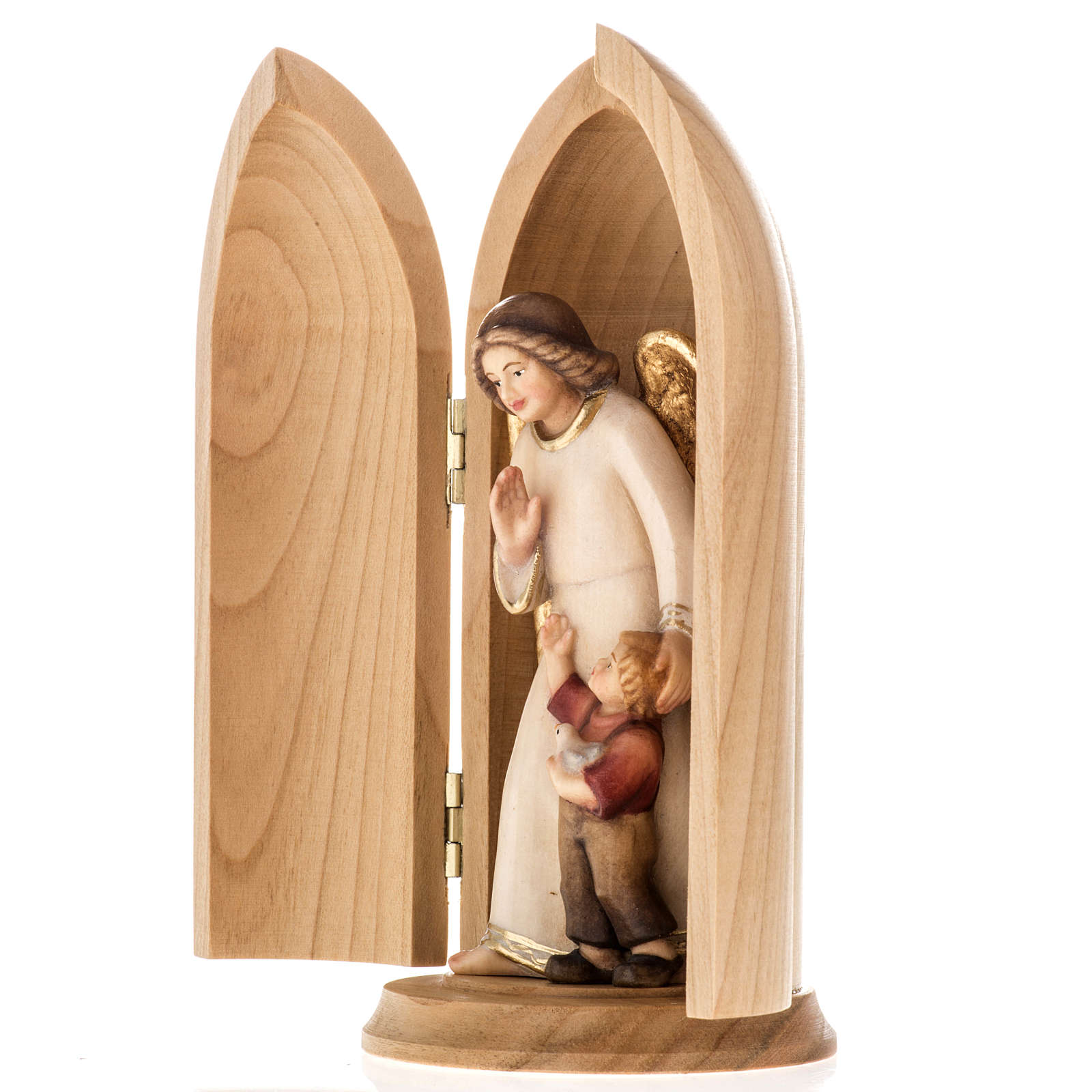 Statue Ange gardien avec enfant dans niche bois peint 4