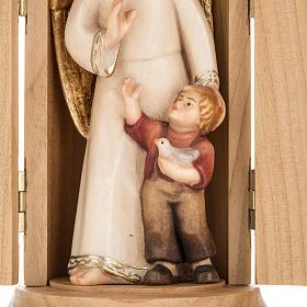 Statue Ange gardien avec enfant dans niche bois peint s2
