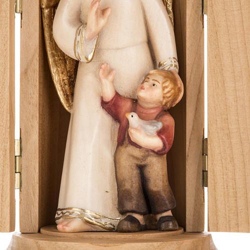 Statue Ange gardien avec enfant dans niche bois peint 2