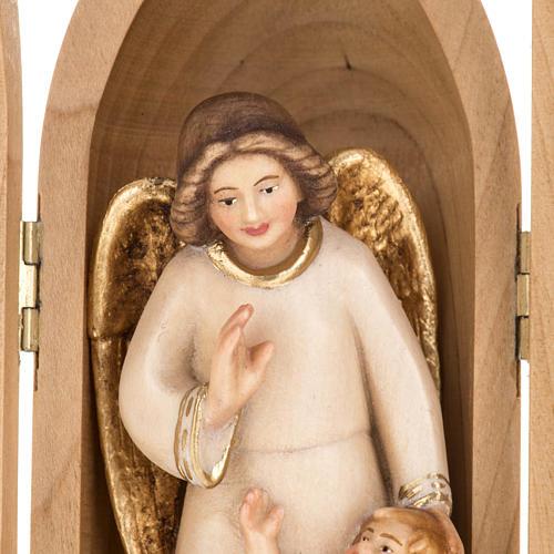 Statue Ange gardien avec enfant dans niche bois peint 3