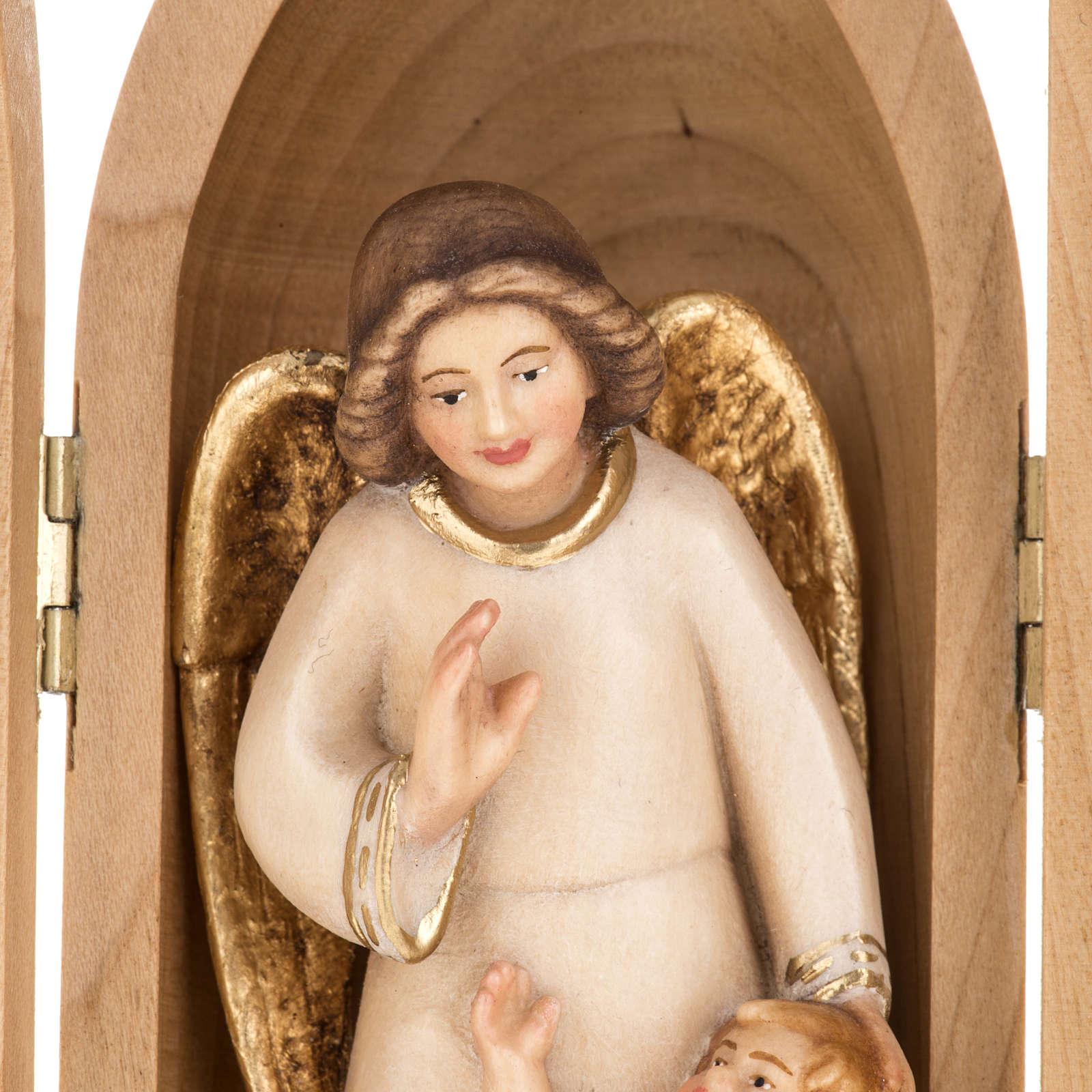 Statua Angelo custode con Bambino in nicchia legno 4