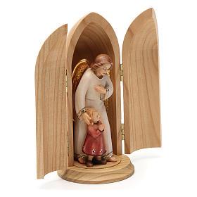 Statua Angelo custode con Bambina in nicchia legno s4