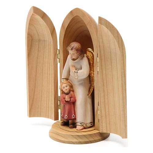 Statua Angelo custode con Bambina in nicchia legno 3